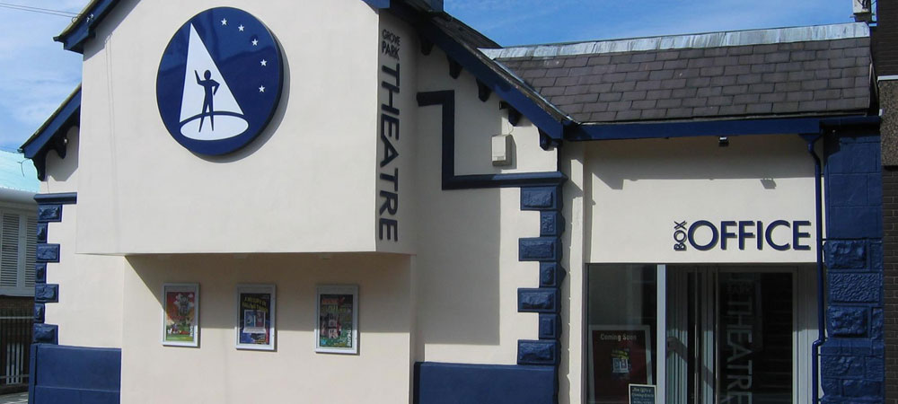 Exterior of Grove Park Theatre in Wrexham town centre